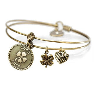 Sweet Romance Good Luck Clover Charm Bangle Bracelet