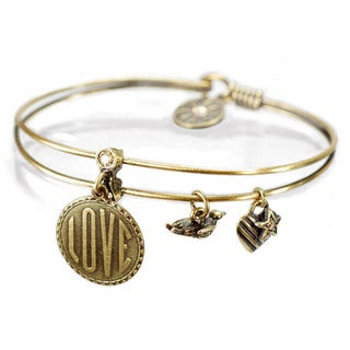 Sweet Romance Vintage Love Charm Tag Bangle Bracelet