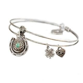 Sweet Romance Silver Horseshoe Birthstone Bangle Bracelet