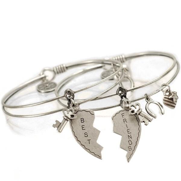 Sweet Romance Set of 2 Friendship Bangle Bracelets. Opens flyout.