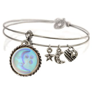 Sweet Romance Aurora Glass Blue Moon and Stars Bangle Bracelet
