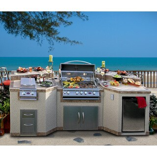Cal Flame 3-piece Island with 4-burner Gas Grill and Rotisserie