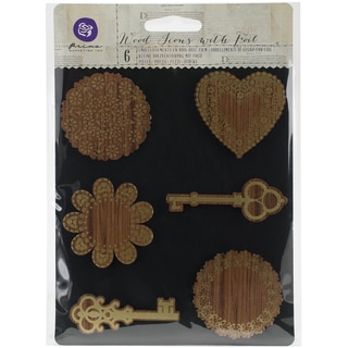 Prima Wooden Icons W/Foil 6/Pkg-Keys & Doilies