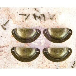 "Memory Hardware Embellishments-Marseille Metal Pulls W/Brads, 2"" 4/Pkg"