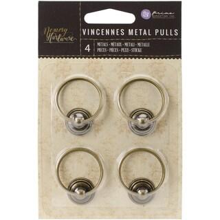 """Memory Hardware Embellishments-Vincennes Metal Pulls, 1.5"""" 4/Pkg"""