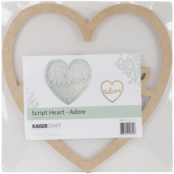 "Beyond The Page MDF Adore Script Heart-10.5""X10.5""X.25"""