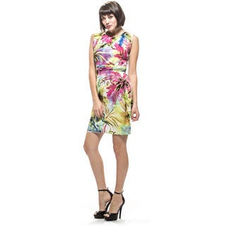 Amelia Floral Cotton Sateen Pleated Neck Dress