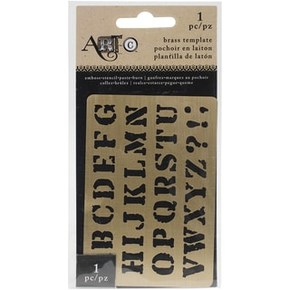 "Momenta Art-C Brass Stencil-Serif Upper Case 3.9""X2.6"""