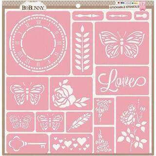 "BoBunny Stickable Stencil 12""X12""-Love"