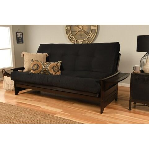 Clay Alder Home DeSoto Hardwood/ Suede Espresso Queen-Size Futon Sofa Bed with Innerspring Mattress