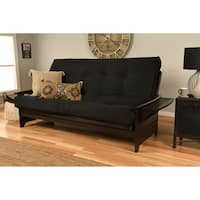 Clay Alder Home DeSoto Hardwood/ Suede Espresso Queen-Size Futon Sofa Bed with Innerspring Mattress