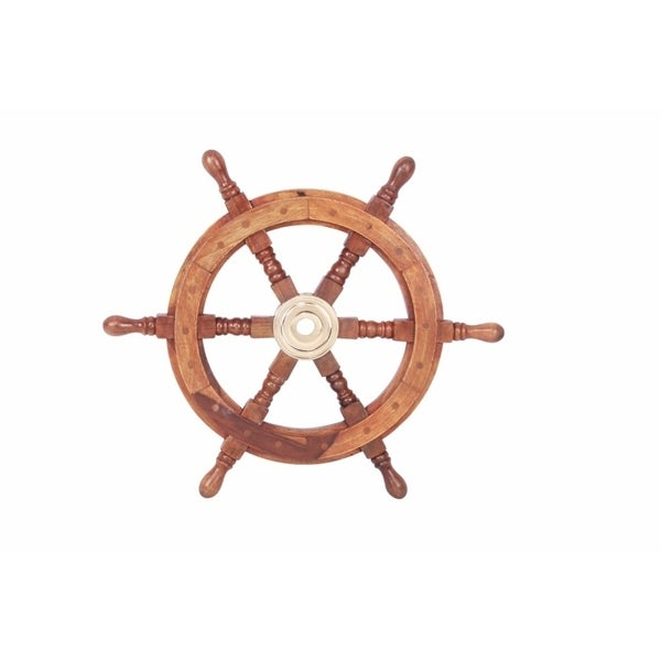 """18"""" Teak Wood Ship Wheel with Brass Inset and Six Spokes, Brown and Gold. Opens flyout."""
