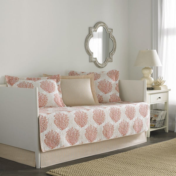 Laura Ashley Coral Coast Coral 5-Piece Quilted Daybed Cover Set
