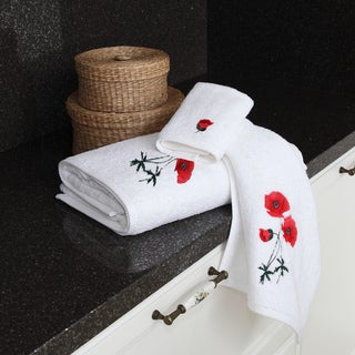 Authentic Hotel and Spa Soft Twist Turkish Cotton 3-piece Towel Set with Embroidered Red Poppy Flowers