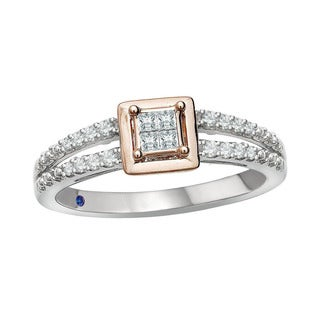 10k Rose Gold over Silver 1/5ct TDW Diamond and Blue Sapphire Accent Ring