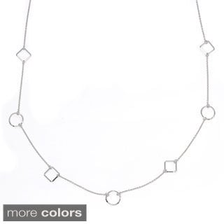 Sterling Silver Multi Geometric Shapes Link Necklace