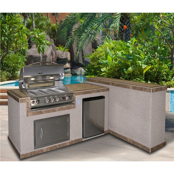 Cal Flame 2-Piece BBQ Island And Side Bar With 32-Inch Cal