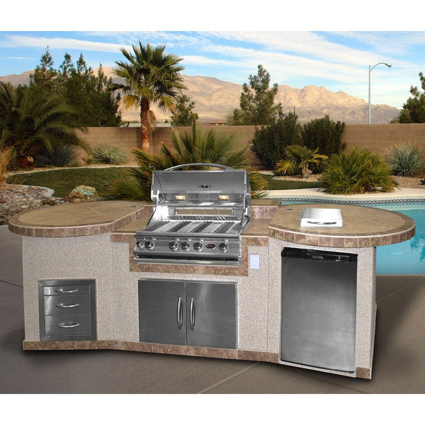 3 Piece Bbq Island With 32 Inch Bbq Grill Free Shipping