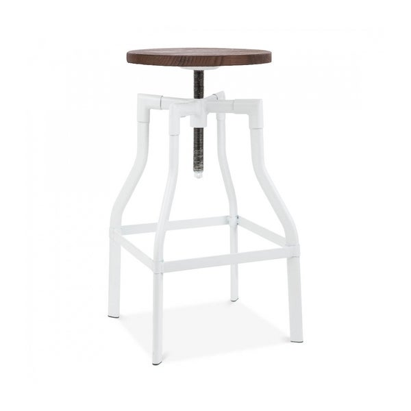 Shop Machinist Glossy White Wood Seat Adjustable Barstool 26 32 Inch