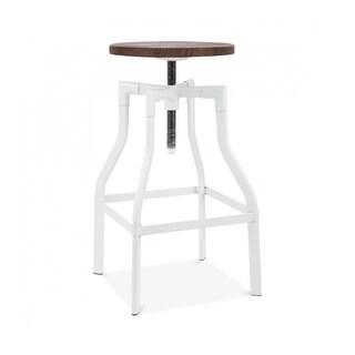 Machinist White Wood Seat Adjustable Barstool 26-32 Inch