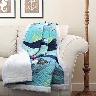 Lush Decor Sea Life Sherpa Throw Blanket Free Shipping