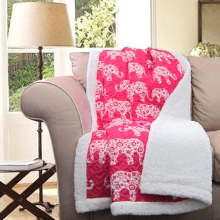 Lush Decor Elephant Parade Sherpa Throw Blanket