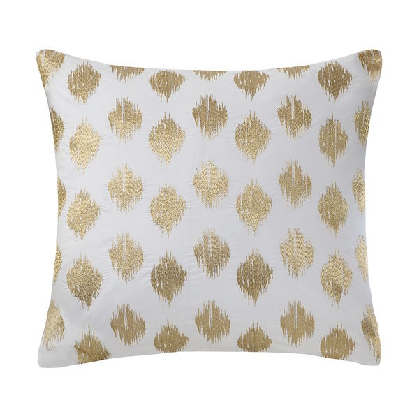 The Curated Nomad Miley Gold Dot Embroidered 18-inch Cotton Throw Pillow
