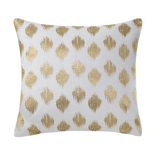 INK+IVY Nadia Metallic Gold Dot Embroidered White Cotton 18-inch Throw Pillow