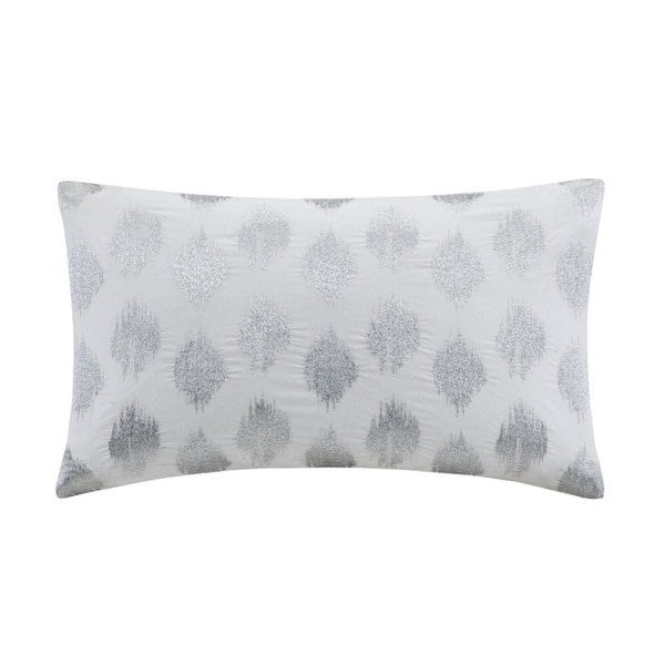 The Curated Nomad Miley Silver Dot Embroidered Oblong Cotton Throw Pillow