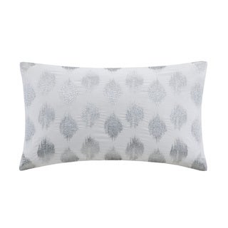 INK+IVY Nadia Dot Silvertone Cotton 12-inch x 18-inch Embroidered Oblong Throw Pillow