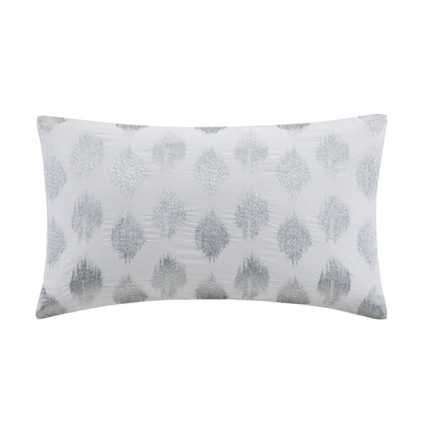 The Curated Nomad Miley Silver Dot Embroidered Oblong Cotton Throw Pillow. Opens flyout.