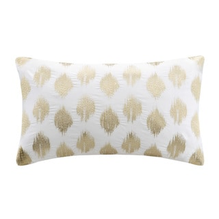 The Curated Nomad Miley Gold Dot Embroidered Oblong Cotton Throw Pillow