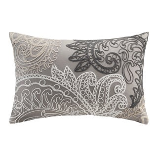 The Curated Nomad Perceval Taupe Embroidered Oblong Cotton Throw Pillow with Chain Stitch