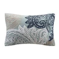 The Curated Nomad Perceval INK+IVY Kiran Embroidered Oblong Cotton Throw Pillow with Chain Stitch