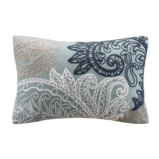 INK+IVY Kiran Embroidered Oblong Cotton Throw Pillow with Chain Stitch