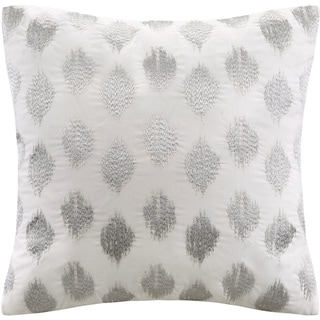 The Curated Nomad Miley Silver Dot Embroidered 18-inch Cotton Throw Pillow