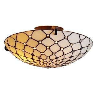 Amora Lighting Tiffany Style 3-light Jeweled Design Large Floating 17-inch Flush Mount