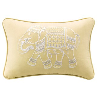 The Curated Nomad Minna Yellow Embroidered Oblong Throw Pillow