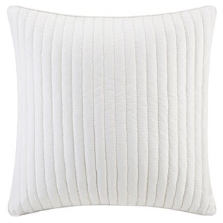 INK+IVY Camila White Quilted Cotton 26 x 26-inch Euro Sham with Hidden Zipper Closure