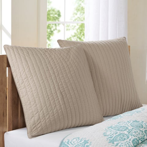 Carbon Loft Dickson Taupe Quilted And Embroidered Cotton Euro Sham with Hidden Zipper Closure