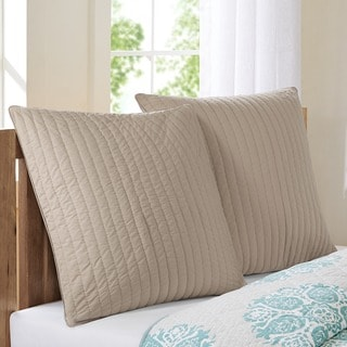 INK+IVY Camila Taupe Quilted And Embroidered Cotton 26 x 26-inch Euro Sham with Hidden Zipper Closure