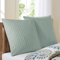 INK+IVY Camila Seafoam Quilted Cotton 26 x 26-inch Euro Sham with Hidden Zipper Closure