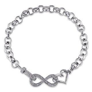 Miadora Sterling Silver 1/10ct TDW Diamond Infinity Heart Bracelet