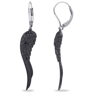 Miadora Sterling Silver Black Diamond Accent Leaf Earrings