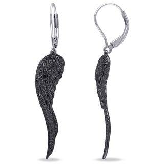 Miadora Sterling Silver Black Diamond Accent Leaf Earrings