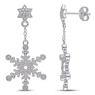 Miadora Sterling Silver Diamond Accent Snowflake Dangle Earrings