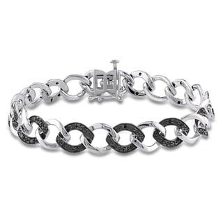 Miadora Sterling Silver 1/2ct TDW Black Diamond Link Bracelet