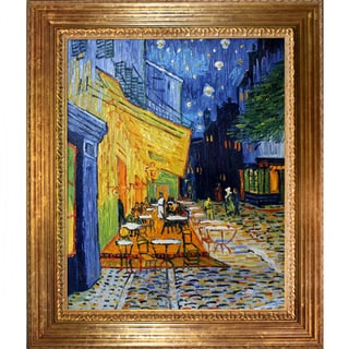 Vincent Van Gogh Cafe Terrace at Night Hand Painted Framed Canvas Art