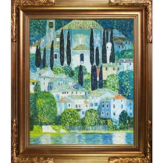 Gustav Klimt Church in Cassone(Landscape with Cypress) Hand Painted Framed Canvas Art