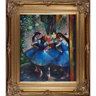 Edgar Degas Dancers in Blue Hand Painted Framed Canvas Art